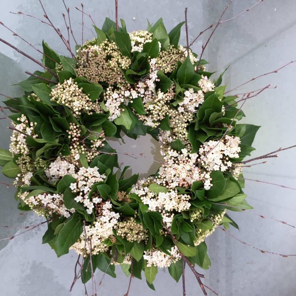 British flowers daphne and doreen florists at its simplest a wreath can be a few willow or birch twigs twisted together and tied with raffia a ring of evergreen foliages such as eucalyptus and fir izmirmasajfo